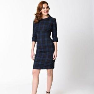 Hell Bunny Vixen Hamilton Blue Plaid Dress Size M